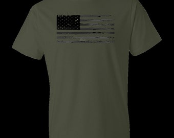 American Flag shirt-green-Large