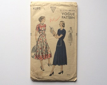 1940s Day Dress Sewing Pattern B32 : Vogue 6295