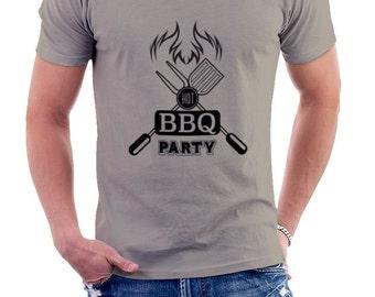 HOT BBQ PARTY gray T-shirt Tshirt man • 003 barbecue cream