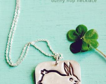 Silver BUNNY NECKLACE - unique rabbit necklace original sterling silver rabbit pendant bunny pendant