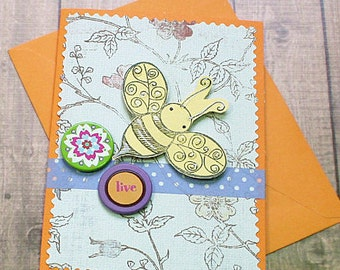 """Live and Bee Happy Wedding, Graduation, Get Well, Thinking of You, Congratulations Greeting Card - 4"""" by 5.5"""""""
