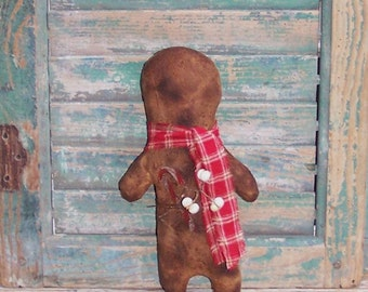 Primitive Gingerbread Doll, Grungy Gingerbread, Mantle Decor, Christmas Ornament, Stocking Stuffer, Christmas Decor, Red - READY TO SHIP