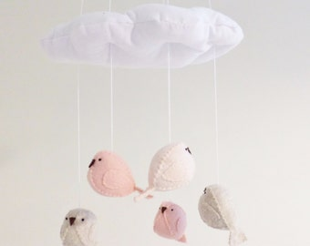 Baby mobile - nursery decoration in pink peach and neutral - bird mobile - cloud mobile