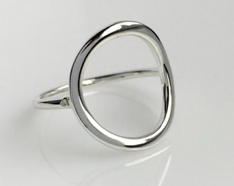 Sterling Silver Circle Ring, Geometric Ring, Big Circle Ring