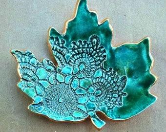 Ceramic lace Leaf  Trinket Dish Malachite green with gold edging