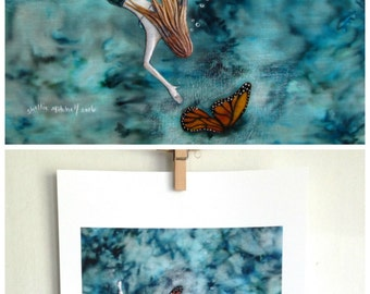 Monarch butterfly art, monarch wings, lost and found, beach decor print, summer girl, teal blue water