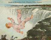 Original Collage, Bad Dream Art, Daydream Nightmare Artwork, Retro Canada Postcard