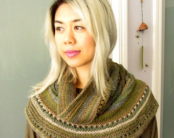 Women Wool Knit Hoodie Cowl Scarf / Shawl - Forest Greens and Brown Variegate Striping