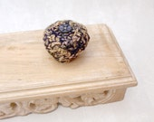 Silk Tapestry Jewelry Basket with Embellished Lid - Keepsake Box with Cobalt Blue Abalone Shell Star Button - Unique Shelf Decor Gift STB021