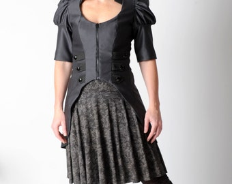 Dark grey zippered jacket with puffy sleeves, Womens steampunk jacket, Steampunk clothing, sz UK 10
