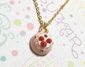 Glamorous Strawberry Shortcake Golden Necklace, Dessert Necklace, Cake Necklace, Sweet Necklace, Cute Necklace, Cute Gift, Christmas Gift