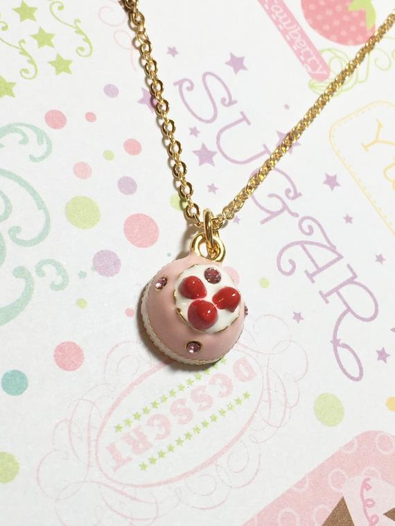 Glamorous strawberry shortcake golden necklace dessert for Strawberry shortcake necklace jewelry