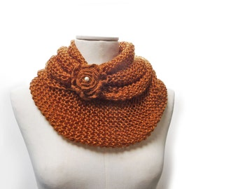Infinity Scarf / Chunky Knit Scarf / Knitted Shawl / Loop Scarf / Cowl Scarf - Pumpkin Rust Orange wool yarn with flower button
