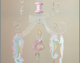 Petite Mermaid Chandelier Mobile Baby Nursery Decor Nursery Mobile