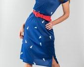 Vintage Blue Geometric Print Dress (Size Small)