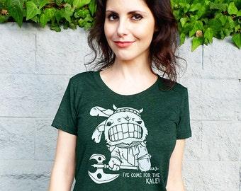 Kale Shirt, Vegan Shirt, Kale Bunny Barbarian Women's Tshirt, Funny Graphic Tee, T Shirt Workout, Garden Food Print - The Bunbarian (Mature)