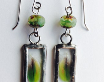 Forest Budding, Green Feathers Earrings