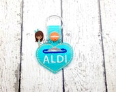 Aldi quarter Snap Tab - Heart Aldi Quarter Keeper- Quarter Fobs - Heart Quarter Key chain - Quarter keeper key chain -Aldi Heart Quarter