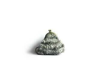 Gray Coin Purse, Coin Purse Keychain, Clasp Coin Purse, Change Purse, Small Coin Purse, Kiss Lock Coin Purse, Money Holder, Knitted Pouch