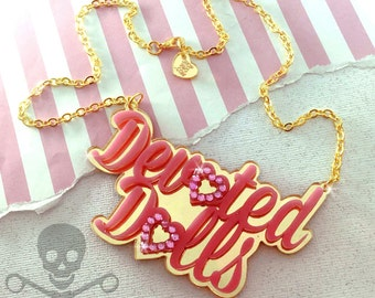 DEVOTED DOLL - Laser Cut Acrylic Necklace in Bubblegum Pink and Gold