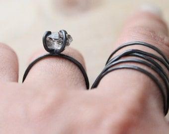 Herkimer Diamond Sterling Silver Ring | Double Terminated Quartz Nugget Stacking | Oxidizidzed Minimal Minimalist Stackers | GUGMA Women's