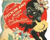 Rare Black Americana Valentine Card, African American Valentine Card, 1950s Valentine Card, Vintage Tribal Valentine Card