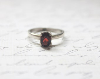 vintage high set garnet solitaire ring • natural garnet stone engagement ring • wedding antique fine jewelry