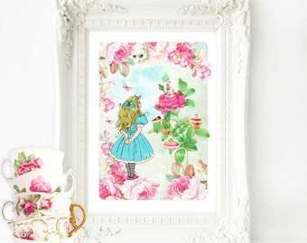 Alice in Wonderland tea party print, nursery decor in pink and blue, A4 giclee