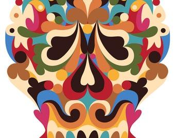 Sugar Skull. Cross Stitch pattern, Digital Download PDF. Complete Sugar Skull. Day of the Dead. Bright and colorful.
