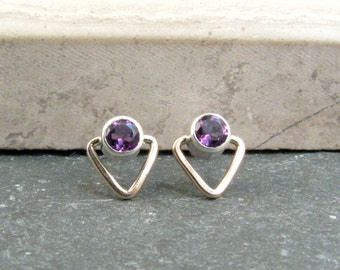 Small Amethyst Stud Earrings - Small Triangle Earrings - February Birthstone Jewelry - Modern Geometric Stud Earrings in Silver and Bronze