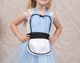 ALICE in Wonderland dress up apron, Alice apron, Alice costume apron, halloween costume apron, Alice TUTU apron, Alice in Wonderland apron