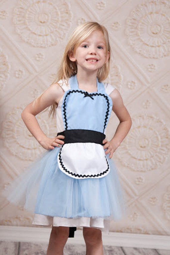 ALICE in Wonderland dress up apron, Alice apron, Alice costume apron, halloween costume apron, Alice TUTU apron, Alice in Wonderland apron