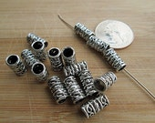 Metal Beads, 12x7mm Silver Tube, 5mm Large Hole, Decorative Bali Look, Metal Spacer - bm83