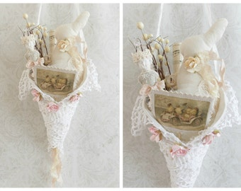 Shabby Cottage Chic Tattered and Lace Fabric Spring Easter Bunny Tussie Mussie