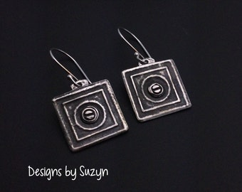 Artisan handmade square silver earrings, steampunk, dangles, small earrings, oxidized