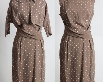 ON SALE Polka Dot 2pc Dress and Top . 1960s Set