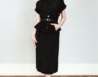 SALE- 1940s Peplum Dress in Black
