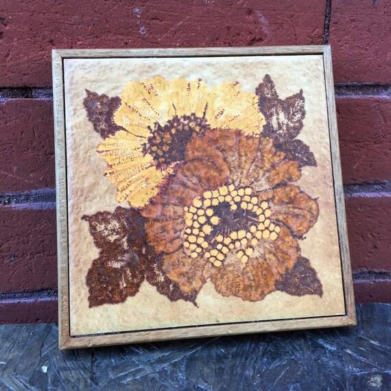 Vintage 1970s Earthtone Flower Ceramic Tile Trivet Brown