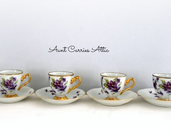 Demitasse Set Violet Design Edged with Gold Trim 6 Cups 4 Saucers Child's Tea Party Set