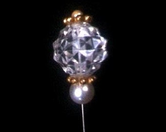 Vintage Hat pin . Retro 1950s Clear Globe Stick Pin . Crystal Diamond Cut Design . Faux Pearls .  Gold Trim . 50s Antique Hat Pin