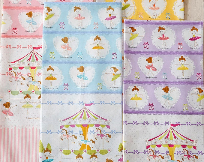 Putite Ecole Prima Ballerina Border Fabric K5005 - Japanese Cotton - choose length and color