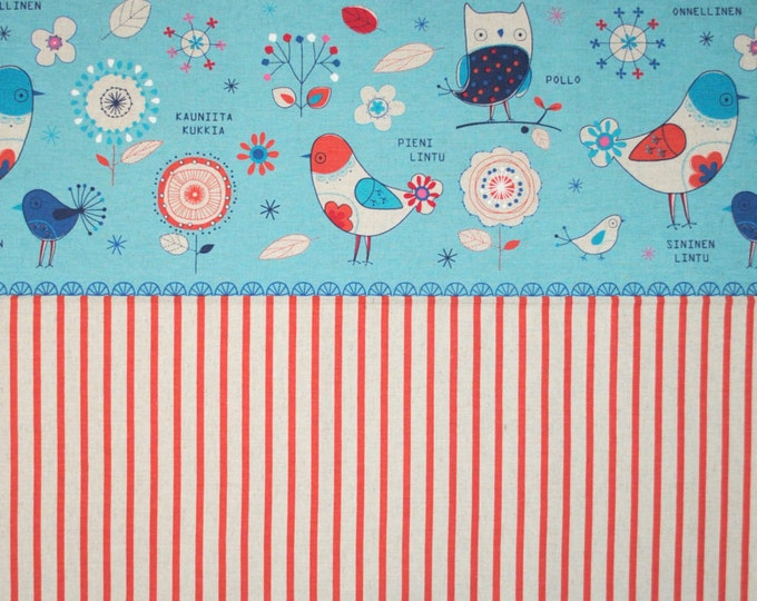 Lecien Cotton Linen fabric - Minakoko by Koko Seki - Stripe L40581-70 Blue select length