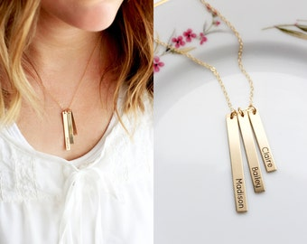 Large Engraved Tag Necklace - Initial Necklace Name Necklace Mother Necklace Engraved Custom Personalized Gift Child Names Initials Necklace