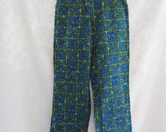 Surfer Girl Tiki Print Jeans Size Small Vintage 60s