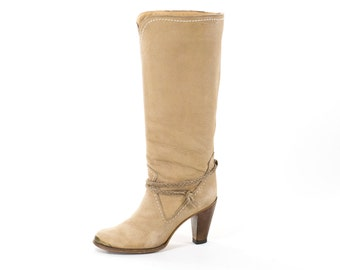 Vintage Boots 1970s Tan Tall Western Rocker Boho Leather Urban Cowboy Boots Size 7.5