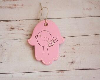 Pink baby girl  nursery judaica   hamsa wall hanging clay nursery wall art children kids room bird