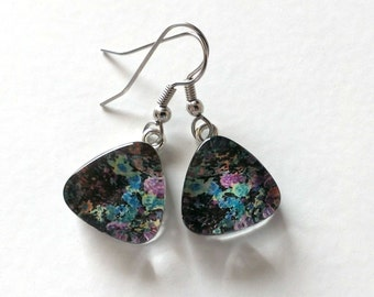 Hypoallergenic Earrings - Water Color Floral Glass Dangle Earrings - Titanium - Nickle Free - Great For Sensitive Ears - One of a Kind
