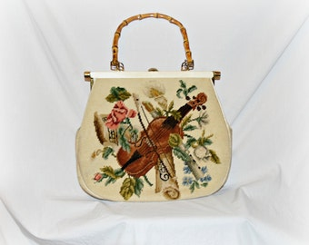 Vintage Needlepoint Musical Design Purse with Violin , Bow , Clarinet , Tambourine and Flowers