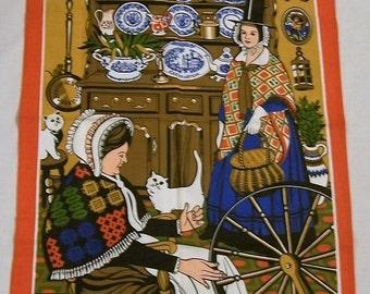 Vintage Tea Towel, Tourist Souvenir, Vintage Cotton Kitchen Towel, Spinning Wheel, Made In Britain