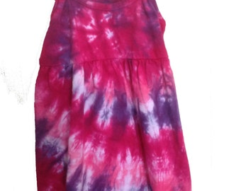 Tie Dyed Fuchsia, Hot Pink and Deep Purple Spiral  Toddler/Girl's Spaghetti Strap Sun Dress/Jumper/Tunic In Stock and READY TO SHIP